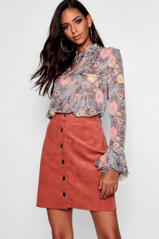 Sophia Tie Front Ruffle Floral Blouse