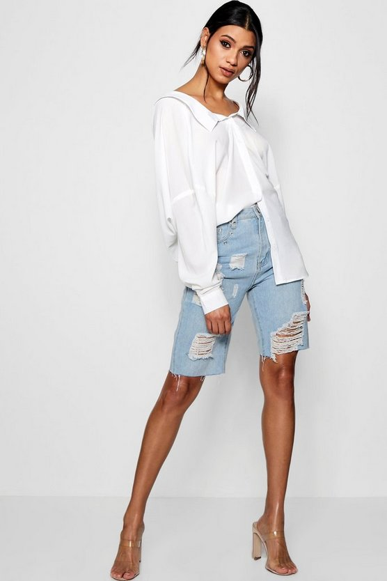 Drape Back Bardot Shirt