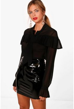 Womens Sheer Ruffle Tie Cuff Shirt