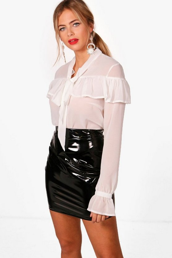 Womens White Sheer Ruffle Tie Cuff Shirt