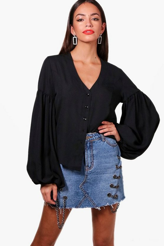 Womens Balloon Sleeve Woven Shirt