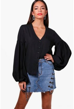 Balloon Sleeve Woven Shirt, Donna