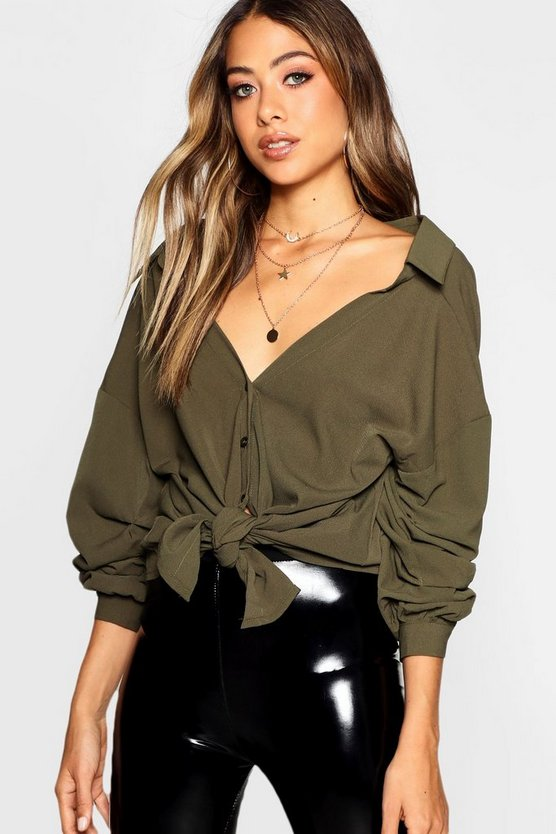 Tie Front Ruched Sleeve Blouse