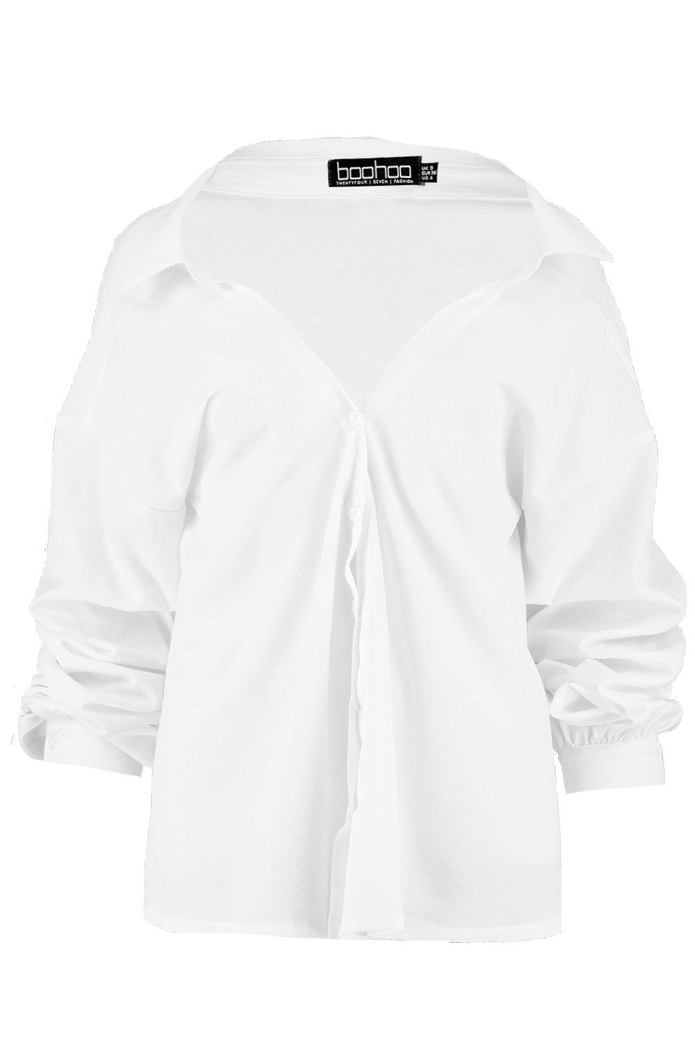 Tie Ruched white Blouse Front Sleeve r1qw5YXq