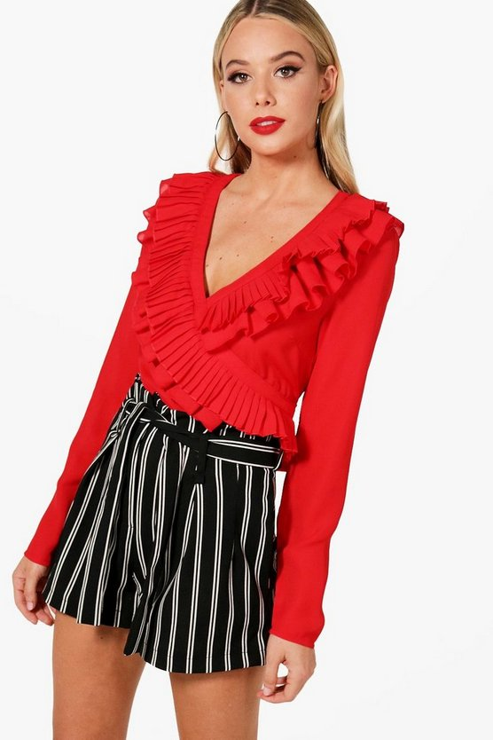Red Ruffle Wrap Tie Side Shirt