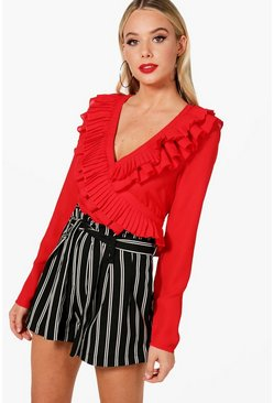 Ruffle Wrap Tie Side Shirt, Red, Donna