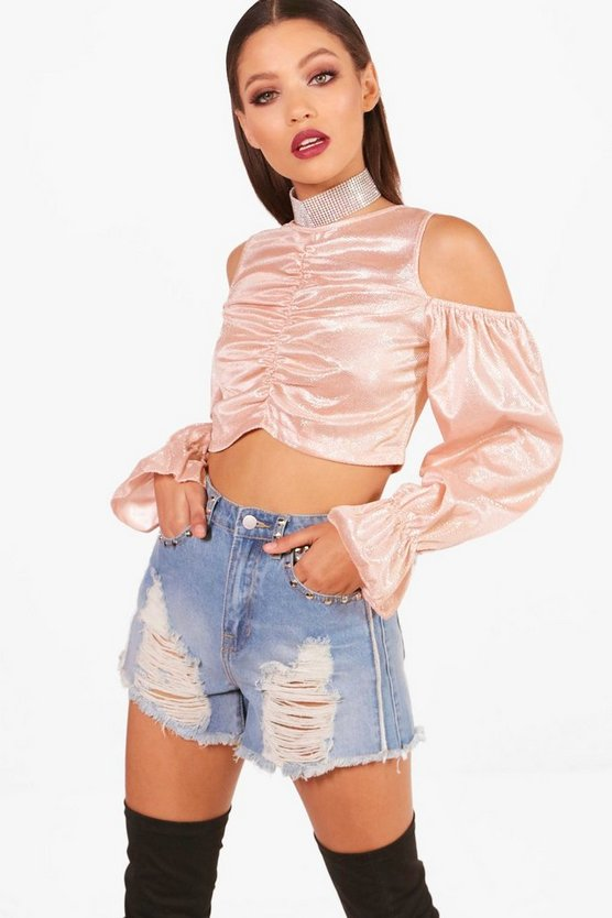 Metallic Ruched Front Crop