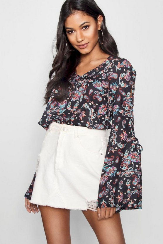 Paisley Lace Up Sleeve Blouse