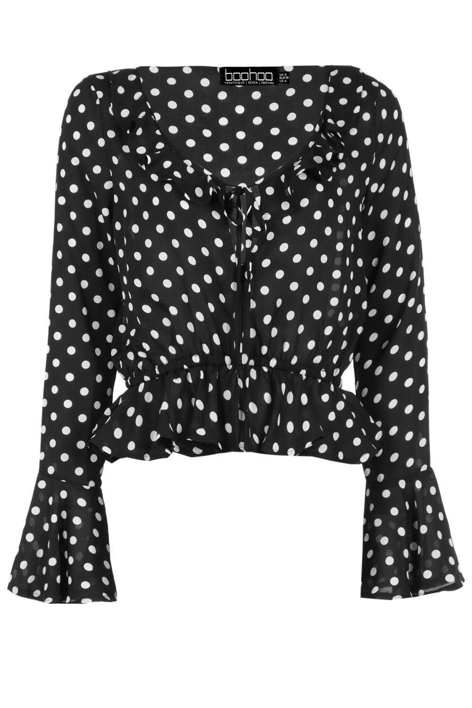 Ruffle Spot black Blouse Woven Print qwwzSE7