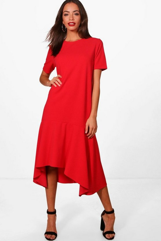 Dipped Hem Oversized Smock Midi Dress