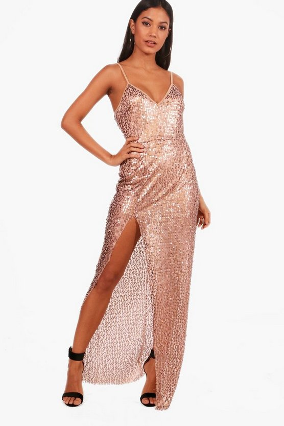 Sequin Split Maxi Dress