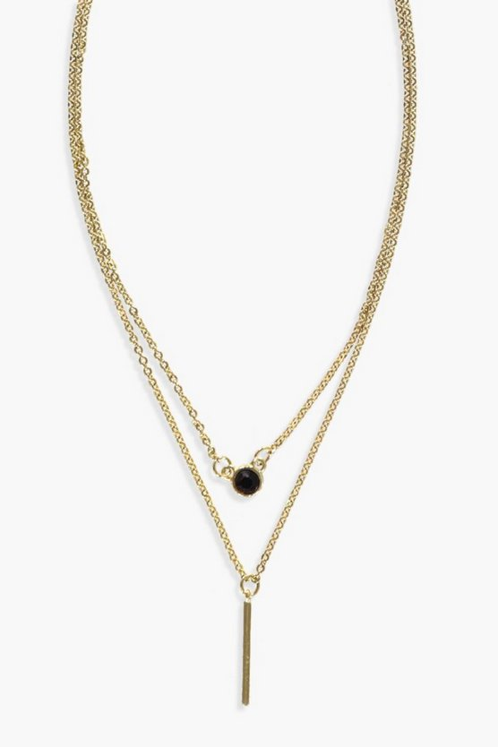 Diamante And Bar Layered Necklace