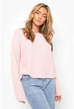 Baby pink Off The Shoulder Slouchy Jumper