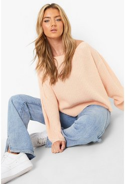 Blush Off The Shoulder Slouchy Sweater