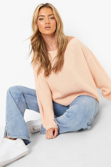 Womens Blush Off The Shoulder Slouchy Jumper