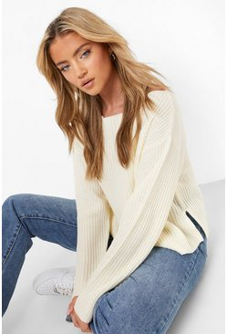 Cream Off The Shoulder Slouchy Sweater