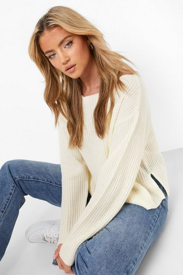 Womens Cream Off The Shoulder Slouchy Jumper