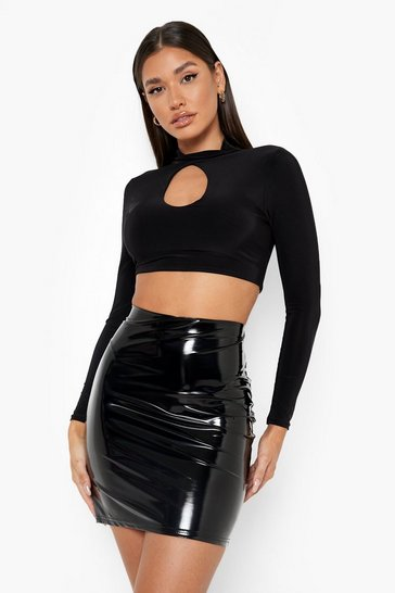 Womens Black Halloween Vinyl Micro Mini Skirt