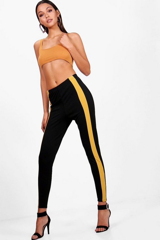 Contrast Front Panel Crepe Leggings