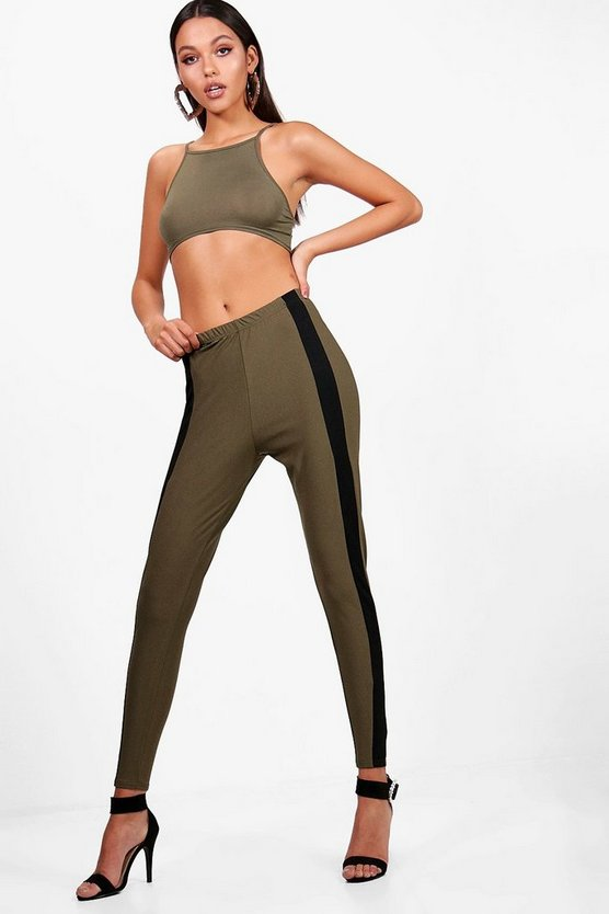 Thea Contrast Front Panel Crepe Leggings