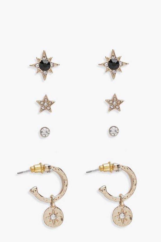 Gold Shanie Star Diamante Hoop & Stud 4 Pack