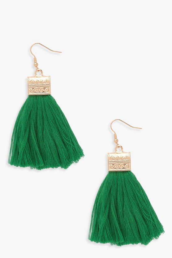 Womens Green Engraved Detail Tassel Fringe Earrings