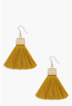 Womens Mustard Engraved Detail Tassel Fringe Earrings