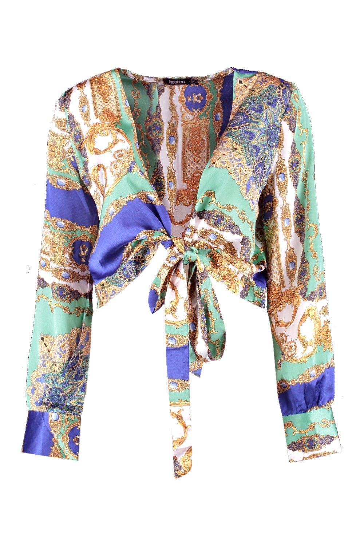 Crop Front Scarf blue Print Tie EErt7