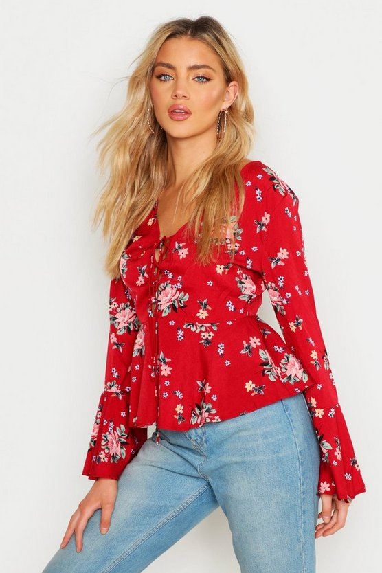Red Printed Lace Up Flare Sleeve Blouse