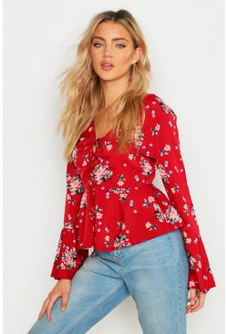 Womens Red Printed Lace Up Flare Sleeve Blouse