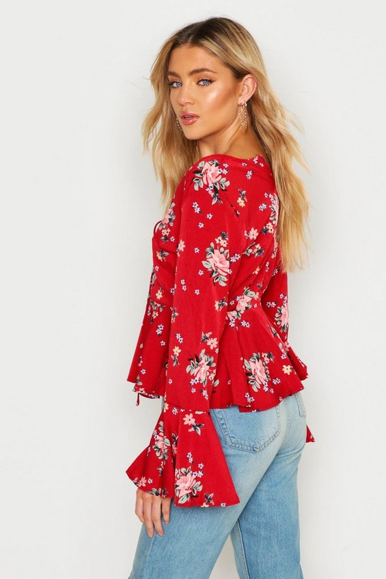 Printed Lace Up Flare Sleeve Blouse