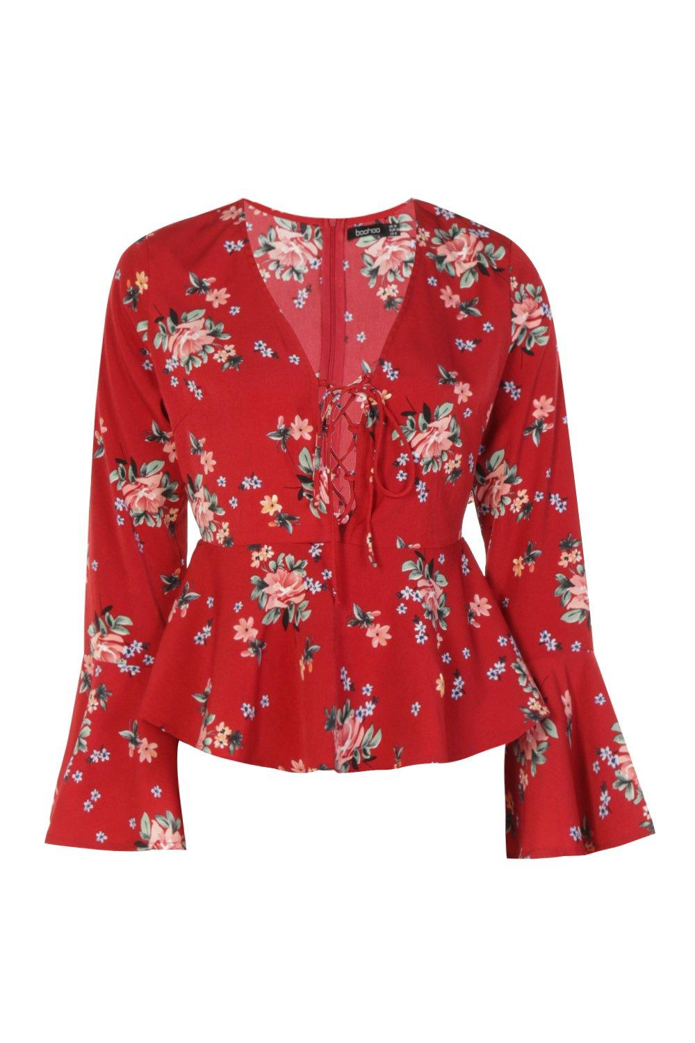 Sleeve red Printed Up Lace Blouse Flare tqw4Znw67W