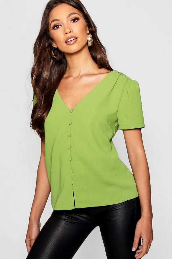 Puff Shoulder Button Detail Blouse, Green, Donna