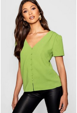 Womens Green Puff Shoulder Button Detail Blouse