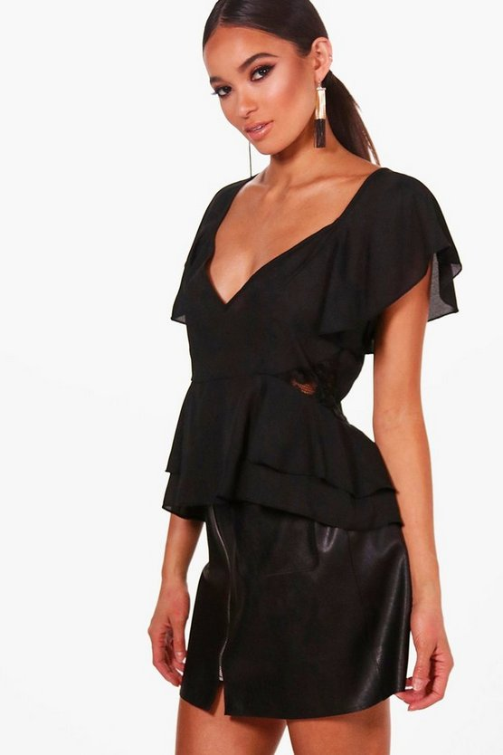 Womens Black Lace Panel Angel Sleeve Peplum Top