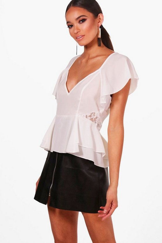 Lace Panel Angel Sleeve Peplum Top