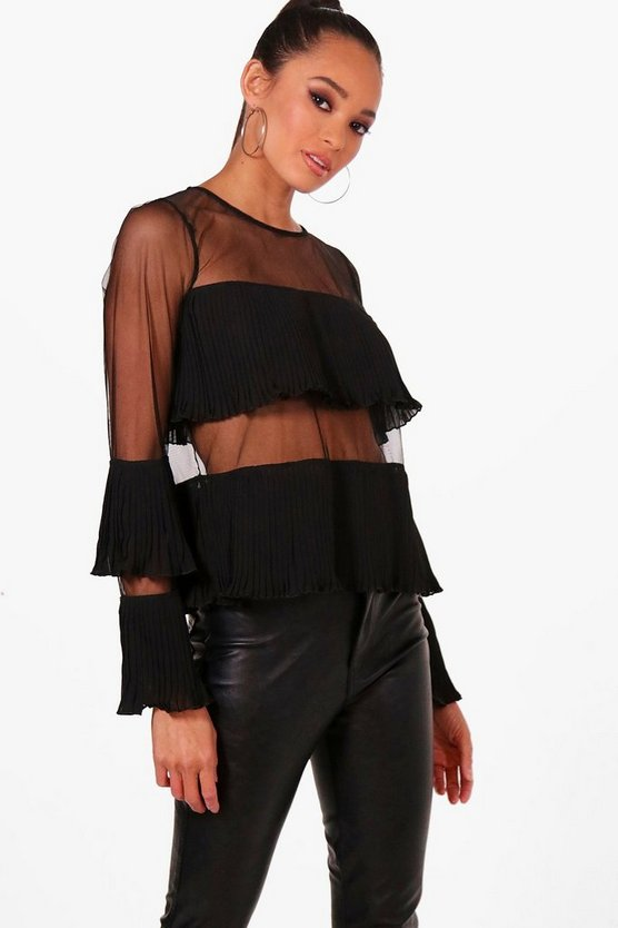 Sheer Panel Ruffle Top, Black, FEMMES