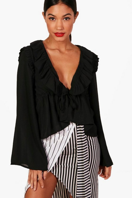 Womens Black Tie Front Ruffle Flare Sleeve Blouse