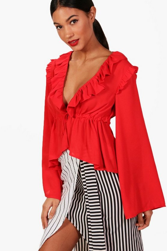 Tie Front Ruffle Flare Sleeve Blouse