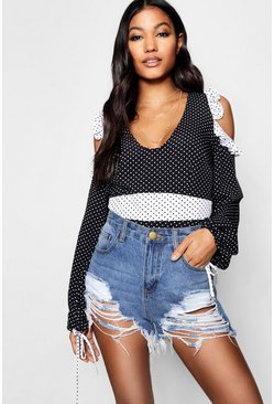 Mix Print Cold Shoulder Blouse, Black, Donna