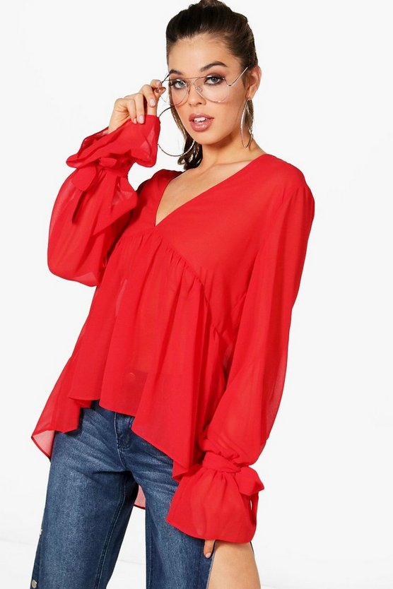 Tie Cuff Plunge Oversized Blouse