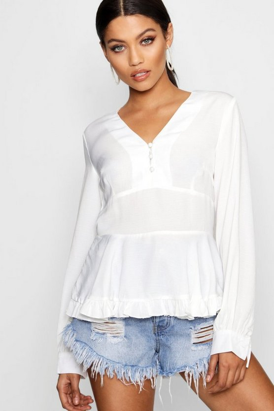 Womens White Button Through Peplum Blouse