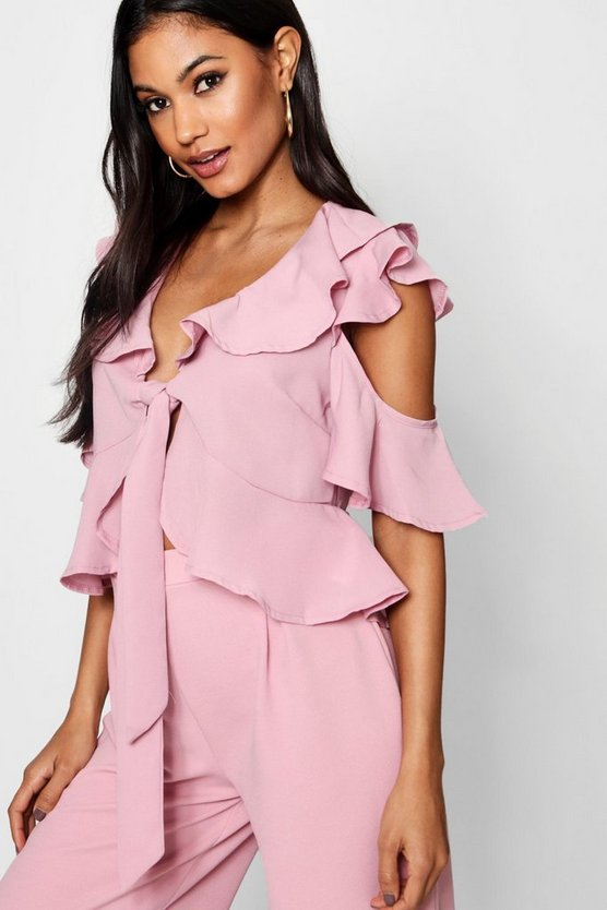 Bethany Tie Front Ruffle Woven Blouse