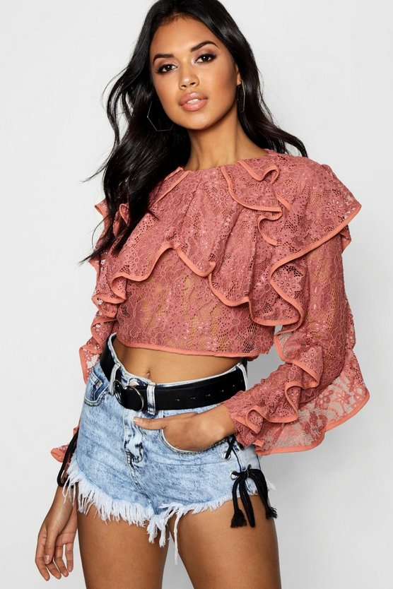 Ruffle Lace Woven Crop, Rose, FEMMES