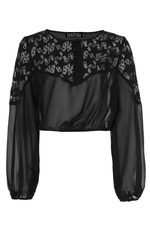 Boohoo-Emma-Star-lace-Panel-Crop-Blouse-para-Mujer