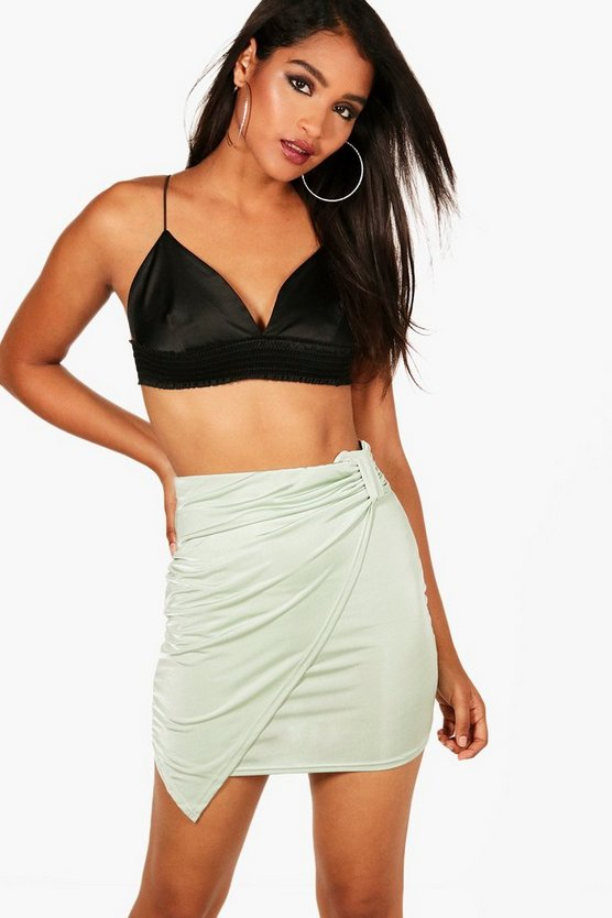 Rouched Wrap Slinky Mini Skirt