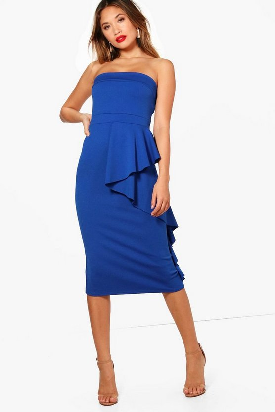 Bandeau Ruffle Detail Midi Dress