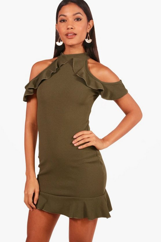 Ruffle Cold Shoulder Bodycon Dress