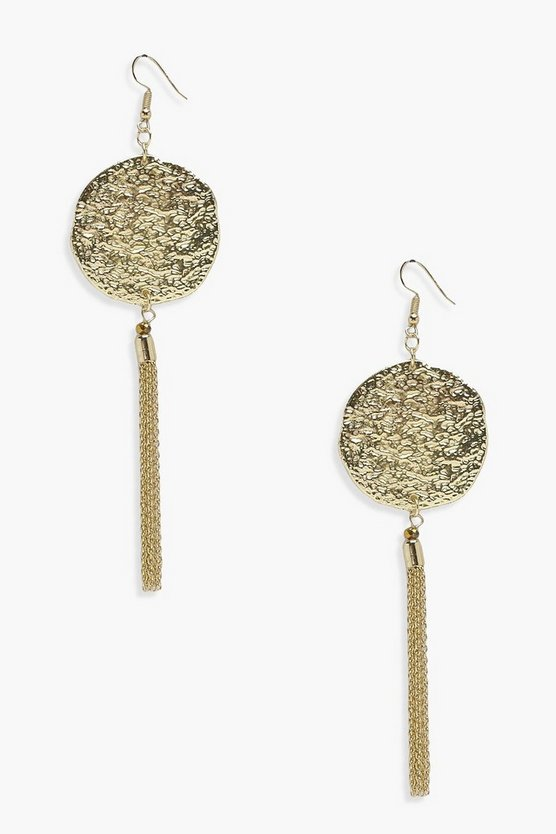 Grace Coin Metal Tassel Earrings