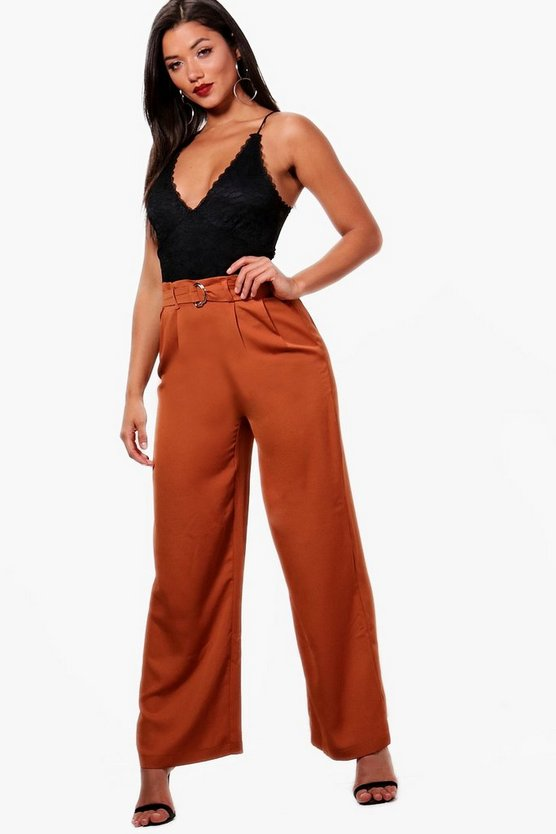 Woven Satin D Ring Wide Leg Trouser